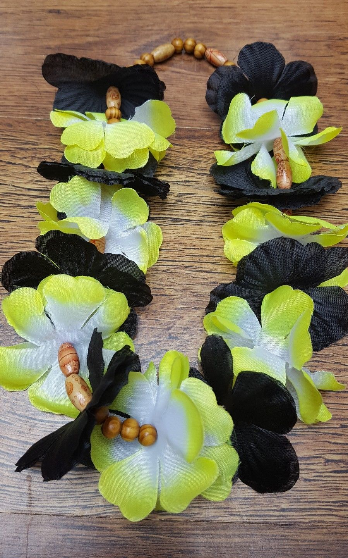 Hawaiian lei black and 2 tone yellow beaded vw campervan t2 t25 t4 hawaiian izmirmasajfo