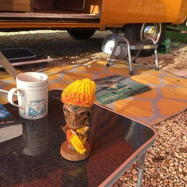 Helen murray took ted camping. She made sure he was warm and colour coded to her lovely van#vanlife #tikiTed #woollyhats #tikigods #vwdash